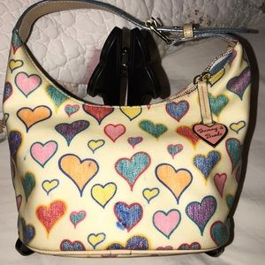 Vintage Dooney and Bourke Doodle Hearts Hobo Tote